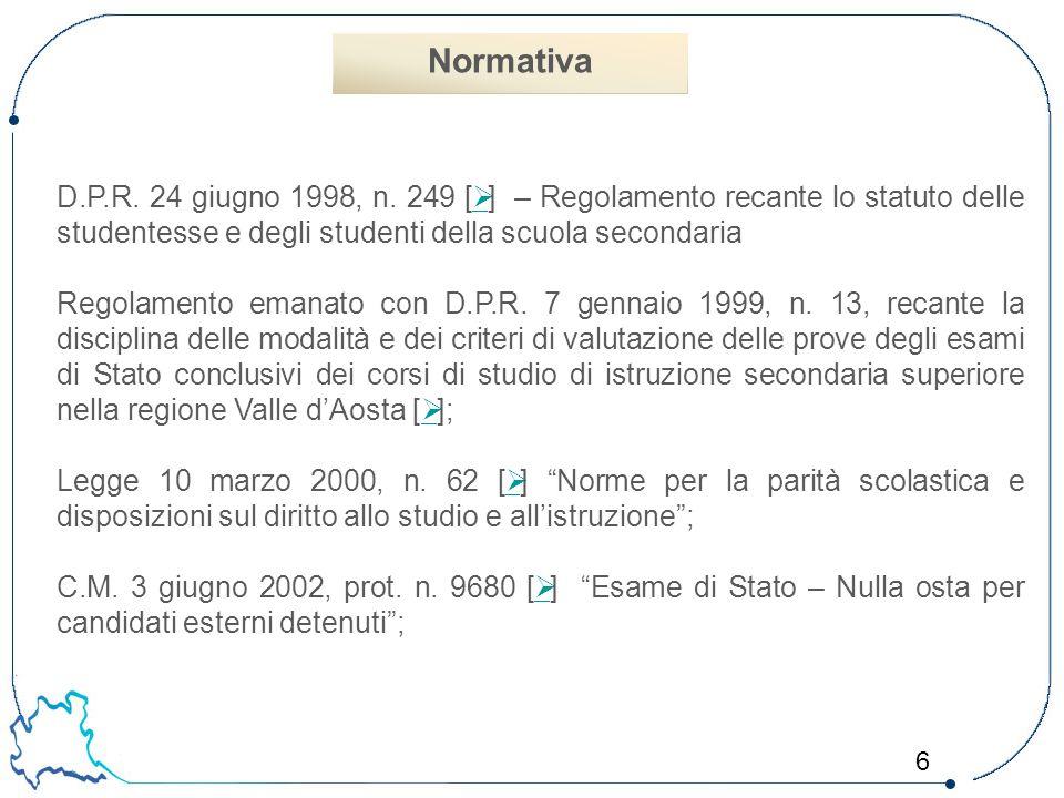 Normativa D.P.R. 24 giugno 1998, n. 249 [Ø] – Regolamento recante lo statuto delle studentesse e degli studenti della scuola secondaria.